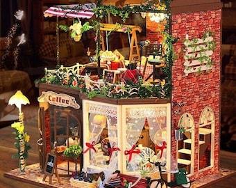 DIY Wood Dollhouse Miniature Kit With LED Furniture  Coffee Shop