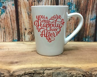 Couple Coffee Mug - Coffee Drinker Gift - Anniversary Gift - Coffee Lovers Gift - Gift for Girlfriend - Happily Ever After - Valentines Day
