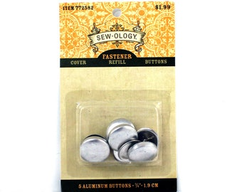 Five Aluminum Buttons, 3/4 inch Buttons, Sew-ology Fasteners, Cover Refill Buttons