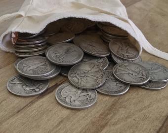 Lot of Ten (10) Walking Liberty Halves (1916-1947) - Five Dollars (HALF ROLL) 90% Silver