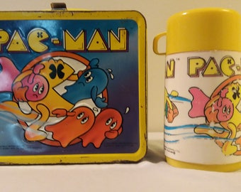 1980s Pac-Man Lunch Box with Thermos