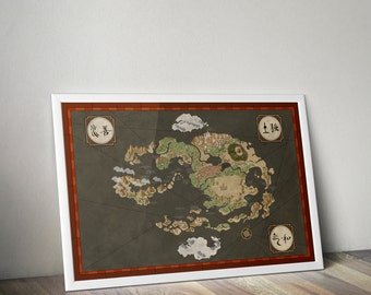 AVATAR : The Last Airbender (TLA) Aang / Avatar The Last Airbender map / The Legend or Korra wall art, Iroh, Zuko, Katara