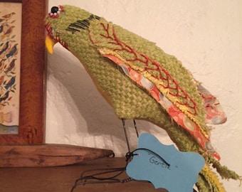Gertie, handmade parrot