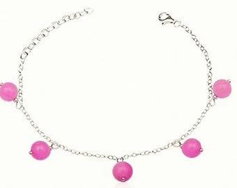 Energy Sexual emotional eliminates anguish and sadness meditation bracelet Jade pink sterling silver natural gems semi precious stones