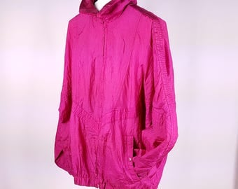 90s Retro Windbreaker Hot Pink Fuschia Hip Hop Streetwear