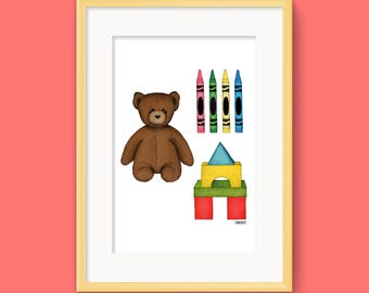 Toys Teddy Bear Crayons Blocks Art Illustration Print