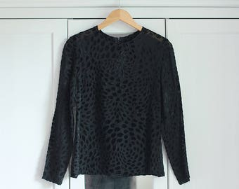 Blouse Vintage Black Pattern Top Elegant Simple Minimalistic Women Girl Casual Retro 1980s Fashion Long sleeves / Small size