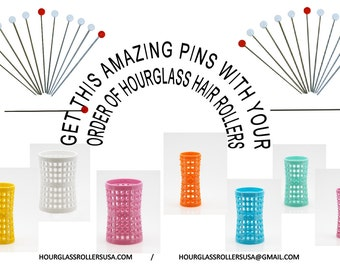 10 Metal Roller Pins + 6 pack of Large White Hourglass Hair Rollers 47mm/1.85in – Pack of 6