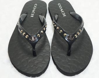 Black Flip Flops Embellished With Genuine Swarovski Dark Metallic Gold Crystals