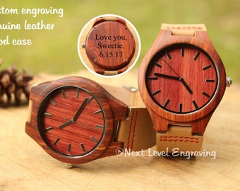 Leather Watches for Men, Engraved Watch Men, Wooden Watch, Boyfriend Birthday Gift, Mens Wood Watches, Gifts for Him, Groom Gift for Husband