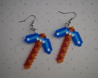 minecraft diamonds pickaxe earrings