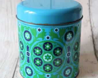 Colourful Retro Blue And Green Tin - Retro Decor