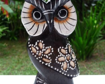 OWL OWL wooden hand-painted flower pattern