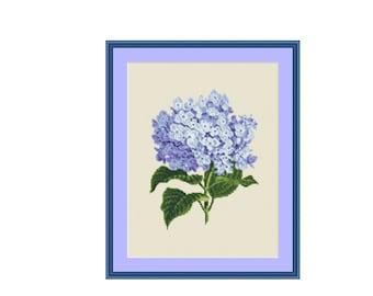 Blue Hydrangea  cross stitch chart, instant download PDF digital counted cross stitch pattern