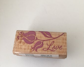 Love - Friendship -  Flower Stamp - Scrapbooking - Card Making Supplies - Wood Mounted Stamp