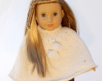 American Girl 18 inch doll poncho in cream