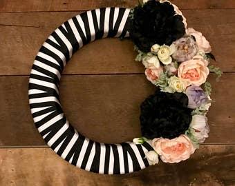 Striped Floral Wreath