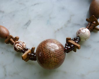 Handmade Triple-Strand Necklace with Wooden Beads - Handmade Necklace