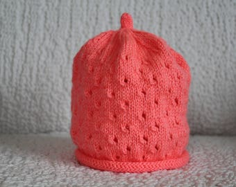 Apricot baby beanie, baby hat
