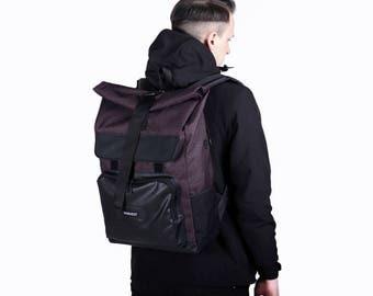Men's Backpack,Waxed Canvas Backpack,Printed Backpack,Hipster Backpack,Vegan Backpack,Gift for Men,Waterproof Rucksack,Laptop Backpack