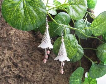 Fairy flower pink tourmaline earrings
