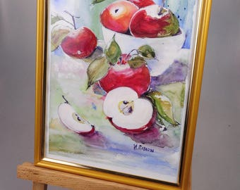 Watercolor red apple painting fruit painting kitchen original watercolor paper decor kitchen wall decor red apple decor medium gift birthday