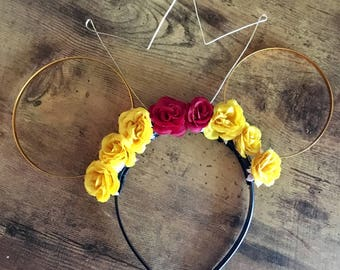 Belle Beauty and the Beast Inspired Floral Wire Mickey Mouse Ears