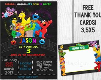 Sesame Street birthday invitation + Thank you Sesame street invite Cookie monster party Elmo invitation Sesame invitation Sesame street card