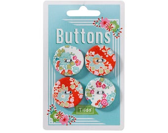 "TILDA ""Bumblebee"" Fabric Covered Buttons, 28 mm, 4 pcs per card"