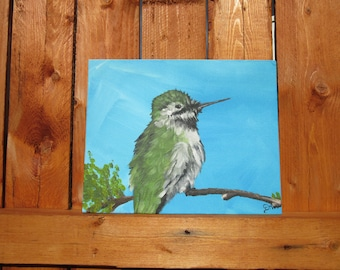 Hummingbird picture,hand painted original 8x 10 inch,Great wall art for any home decor, wall hanging, rustic wall decor, home decor, Easter,