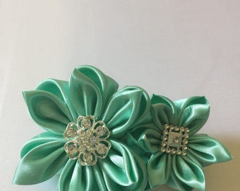 Satin hair clip with rhinestones