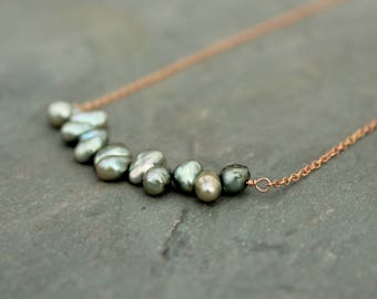 Freshwater pearl and rose gold bib necklace