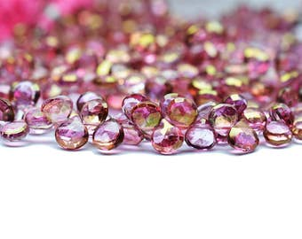 Super Launching Sale 30% off - AAA quality Dark Pink MYSTIC Quartz faceted Heart shape