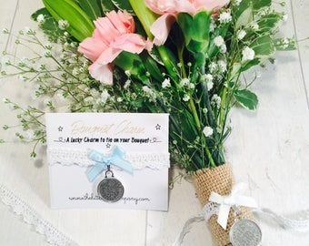Wedding bouquet, wedding flowers, bouquet charm, sixpence charm, lucky sixpence
