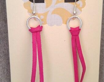Hot Pink Deerskin Leather and Silver Hoop Hanging Earrings
