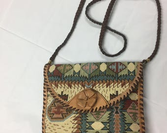 Leather Accented Shoulder Bag Southwest Tapestry with Long Braided Strap