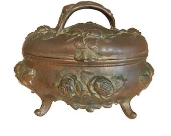 Medium Size Art Nouveau Gild Jewelry Box