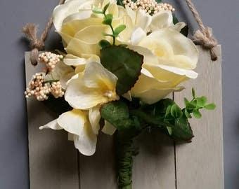 Cream rose wall hanging
