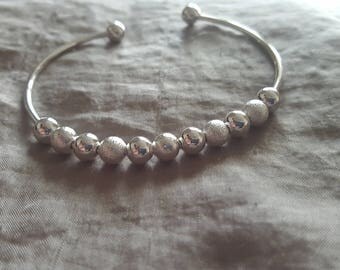 Silver Plated Bangle Bracelet with Silver Beads