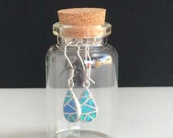 925 Sterling Silver Blue Opal tear shape earrings, Beautiful earrings, Unique earrings, Sterling Silver earrings.
