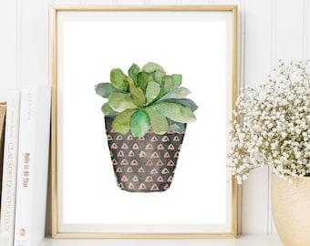 Cactus printable, Watercolor succulent printable, succulent print, cactus poster, botanical print, cactus art, garden decor, garden print