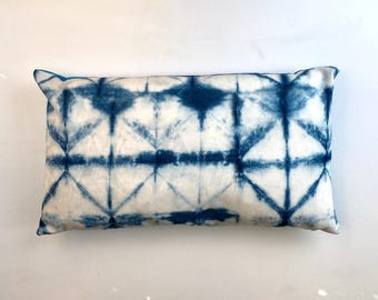 Outdoor cushion cover in Designers Guild fabric Seraya Padua blue white shibori ombre water resistant throw pillow summer 50 x 30cm 12 x 20""