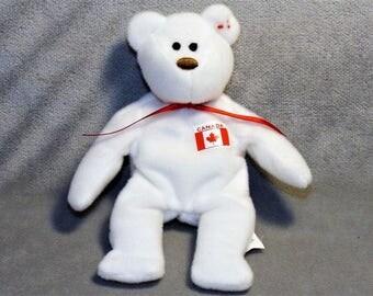 VINTAGE Canadian WhiteTY Miniature Beanie Bear. 1993 TY Bear.