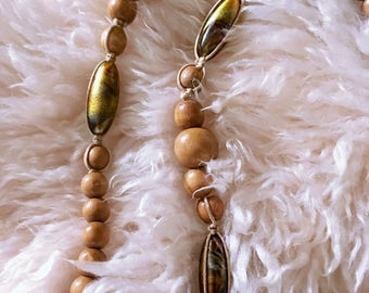 Boho Tan and Iridescent Brown Beaded Necklace