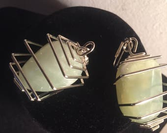Jade Wire-Caged Earrings and Floating Necklace