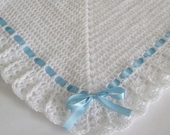 Crochet Baby Blanket / Afghan White and Blue Satin Ribbon Christening, Baptism, Baby Granny Square Crochet Blanket, Baby Shower Gift