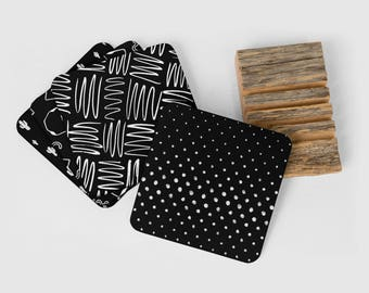 Black and White Coasters, Set of Coasters, Set of 4 Coasters, Cork Back, Drink Coasters, Bar Accessories, Coasters, Beverage Coasters