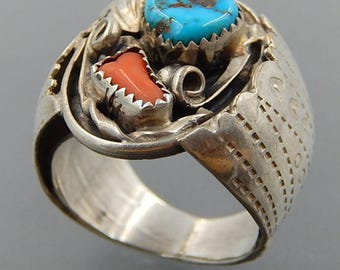 Albert Mccabe Navajo sterling silver turquoise coral wide men's ring (12)