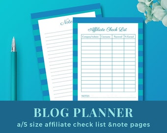 Blog Affiliate Check List / Blog Planner Inserts / Blog Organizer / a5 size printable planner inserts / INSTANT DOWNLOAD