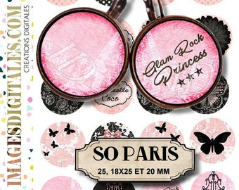 SO PARIS id Digital Collage Sheet Printable Instant Download for art jewelry scrapbooking bottle caps magnets pins